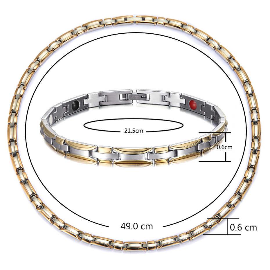 Conjuntos de joyería Rainso, collar magnético saludable, conjuntos de pulsera para mujer, bioenergía, moda de terapia magnética, joyería con holograma