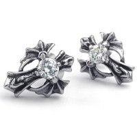 Mens Cubic Zirconia Stainless Steel Vintage Gothic Cross Stud Earrings KE831