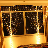 3M X 3M 300 LED Curtain Lights Outdoor Fairy Background Curtain String Garlands With 8 Modes