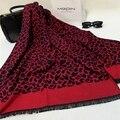 2016 высокое качество кашемира Шарф женщины испания Дизайнер Leopard кисточкой шерсти дамы пашмины шарфы Длинные Теплый Платок cachecol