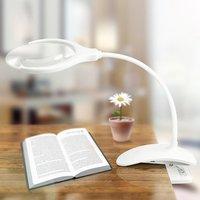 Multifunctional Optical LED Magnifier Desktop LED Lamp Magnifier Firm Clip LED Light Magnifying Glass Lens Moonlight 20180222