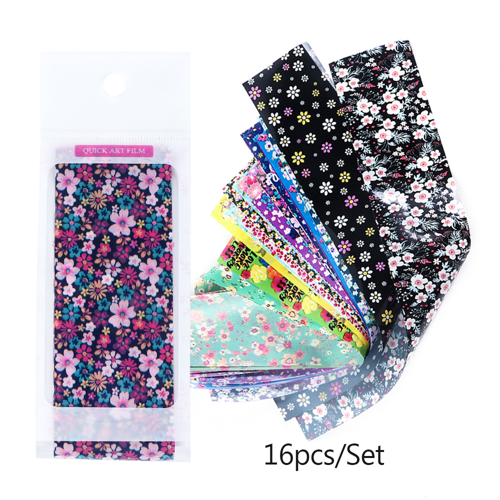 Image 5 - 16pcs Slider Nail Foils Mix Flower Nail Art Sticker Holographic Starry Paper Foil Nail Gel Transfer Full Wrap Decorations JI1024-in Stickers & Decals from Beauty & Health