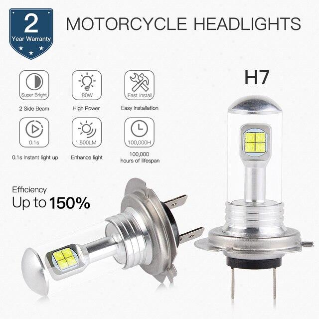Head Light Bulb H7 Led For Honda Cbr600rr Cbr1000rr Cbr125r Cbr600f4i Cbr 600rr Abs Goldwing 1800
