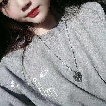 Kpop Vintage street hip hop fajna para kolor srebrny serce miłość wisiorek naszyjnik łańcuch dla kobiet dziewczyn Egirl estetyczna biżuteria