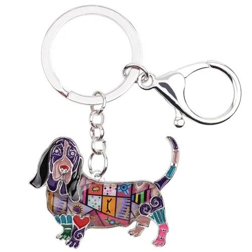 WEVENI Metal Basset Hound Dog Key Chain Key Ring Handbag Charm Car Key Holder New Enamel Keychain Animal Jewelry For Women