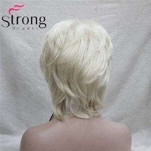 Image 5 - StrongBeauty קצר שכבות בלונד קלאסי כובע מלא סינטטי פאה נשים שיער פאות צבע אפשרויות