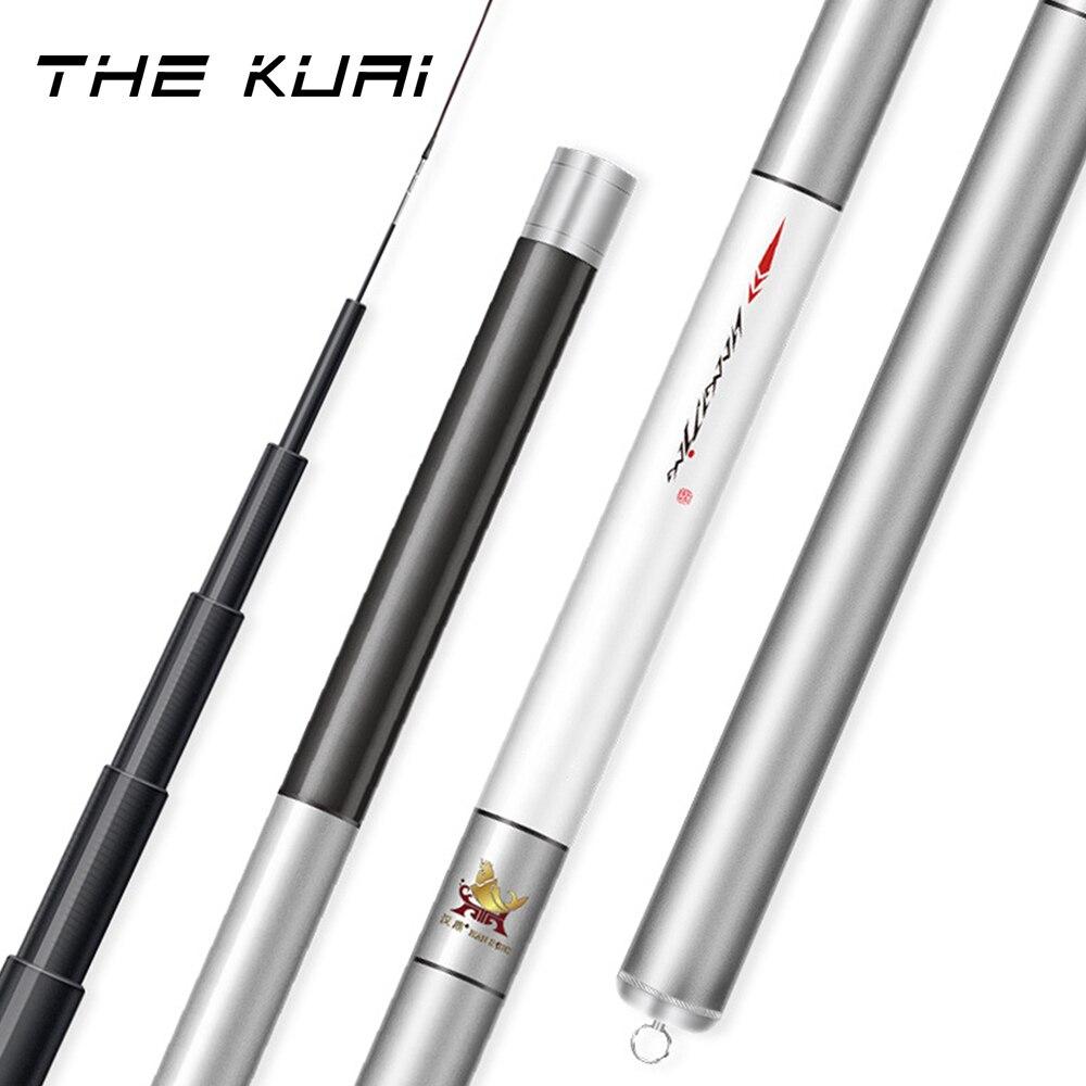 THE KUAI New Fishing Rod Ultra-hard Ultra-light Pole Carbon Fiber 4.5m-8.1m Telescopic Casting For 3000g Big