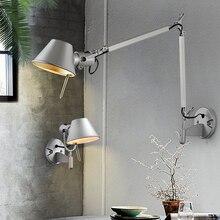 Американский промышленный настенный светильник черного и серебристого цвета E27 вращающаяся настенная лампа с длинным кронштейном с выключателем для прикроватного Кабинета офиса гостиной