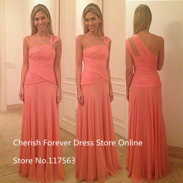 L Sexy Vestido One Shoulder Sleeveless Cross Pleated A Line Chiffon Long Evening Dress Event Prom Dress