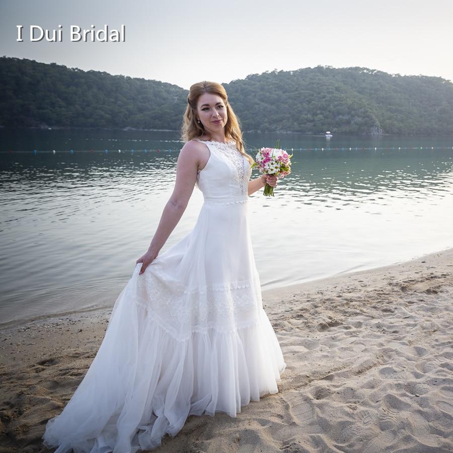 Unique Wedding Dresses With Color: Beach Wedding Dress A Line Lace Unique Design New Style