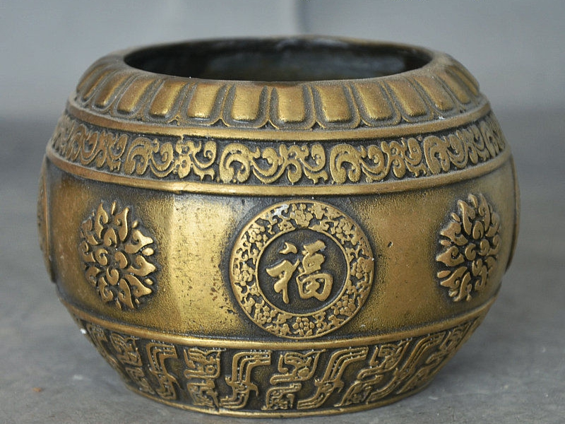 Old China Collect Buddhism Bronze Lotus Cai Fu Bowl Statue Incense Burner Ce7923Old China Collect Buddhism Bronze Lotus Cai Fu Bowl Statue Incense Burner Ce7923
