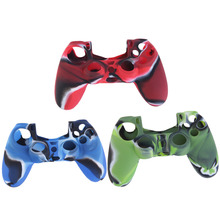 Cool Camouflage Soft Silicone Cover Case Protection Skin For Sony Playstation 4 Dualshock 4 Controller PS4 Console Decals Blue
