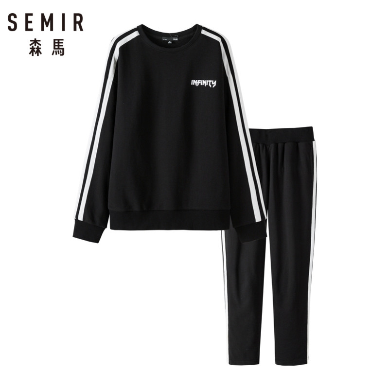 SEMIR Women Sweatshirt Set 2 Pcs Side Stripe Ribbed Crewneck Sweatshirt With Print + Sweatpants Sport Pants Ribbed Waistband Set