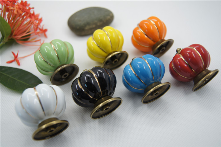 (10 pcs) High Quality Vintage Pumpkin Ceramic Door Knobs Cabinet Drawer Cupboard Kitchen Pull 7 Colors push to open beetles drawer cabinet latch catch touch release kitchen cupboard new arrival high quality