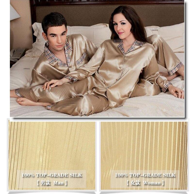 Brand Men's Silk Pajama Sets Heavy Silk 29 Momme Male Long Sleeve Pyjamas 100% Silk Sleepwear Men Women Comfortable Homewear Set