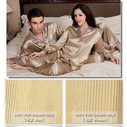 Merk mannen Zijde Pyjama Sets Zware Zijden 29 Momme Mannelijke Lange Mouwen Pyjama 100% Zijde Nachtkleding Mannen Vrouwen Comfortabele homewear Set