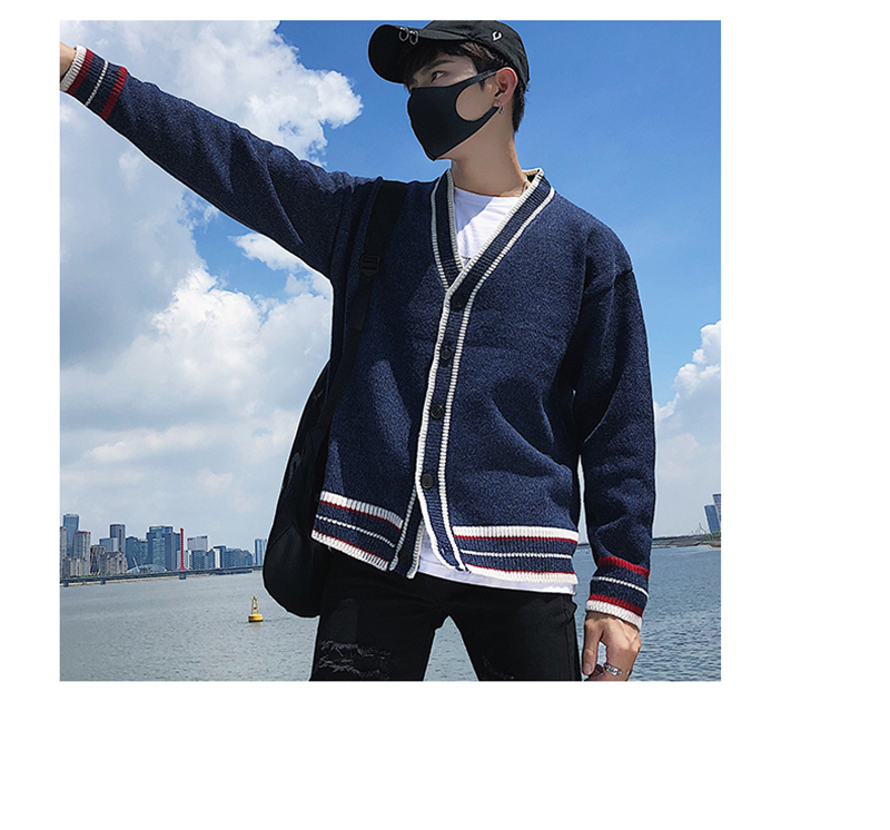 Check Button Cardigan Male Oversize Loose Streetwear (13)