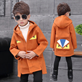 teenage boys outerwear autumn and winter child Monster wool coat children woolen overcoat medium-long thickening trench coats