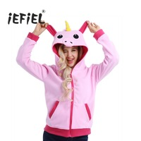 3 Color Unisex Adult Cute Cartoon Unicorn Animal Hoodies Long Sleeve Zipper Polar Fleece Costume Outerwear