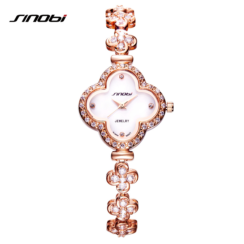 SINOBI Luxury Diamond reloj mujer 2018 Women Watches Fashion Bracelet Ladies Watch Jewelry Watch Women Girls montre femme sinobi luxury diamond watch women watches metal mesh ultra thin women s watches ladies watch clock saat montre femme reloj mujer