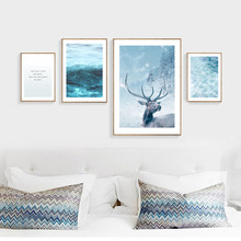 Sea Paintings Nordic Posters And Prints Landscape Canvas Art Blue Deer Picture Abstract Wall Art Living Room Canvas Unframed unframed sea wave and beach pattern canvas paintings