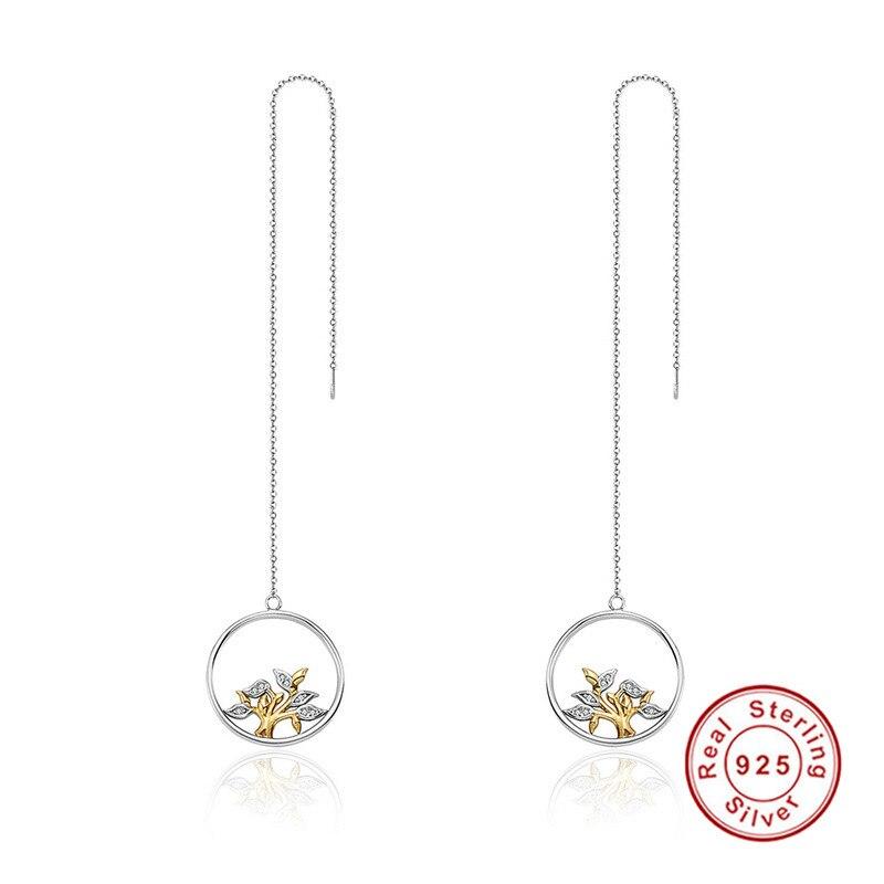 925 Sterling Silver & Gold Circle Jewelry Tree of Life Tassel Drop Earrings for Women In Drop Earring