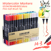 STA 12 24 36 48 80 Colors Artist Double Headed Brush Pen Art Markers Non Toxic