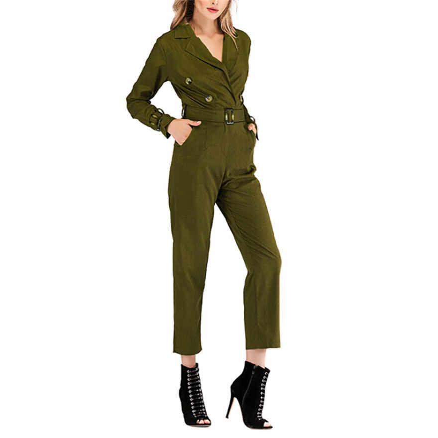 Осенне-зимняя Дамская обувь Армейский зеленый Боди с длинным рукавом v-образным вырезом Кнопка Твердые карандаш брюки пояса комбинезон #1024 487-733 г