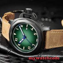 44mm Parnis green dial PVD case california Sapphire Automatic Mens watch 474D