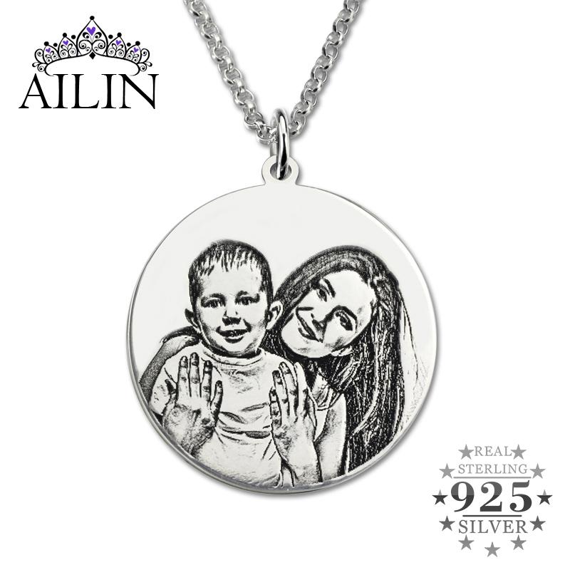 AILIN Personalized Sterling Silver Photo Engraved Necklace Handmade Photo Disc Back-Engraving Mother' Necklace Mom Gift цена и фото