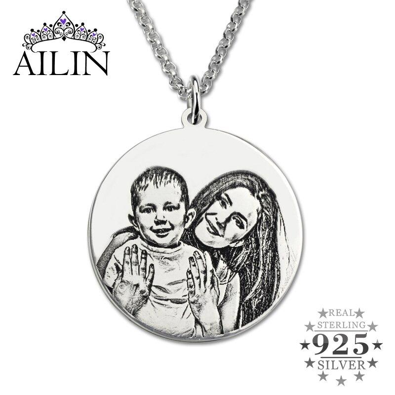 AILIN personnalisé en argent Sterling Photo collier gravé à la main Photo disque retour-gravure mère 'collier maman cadeau