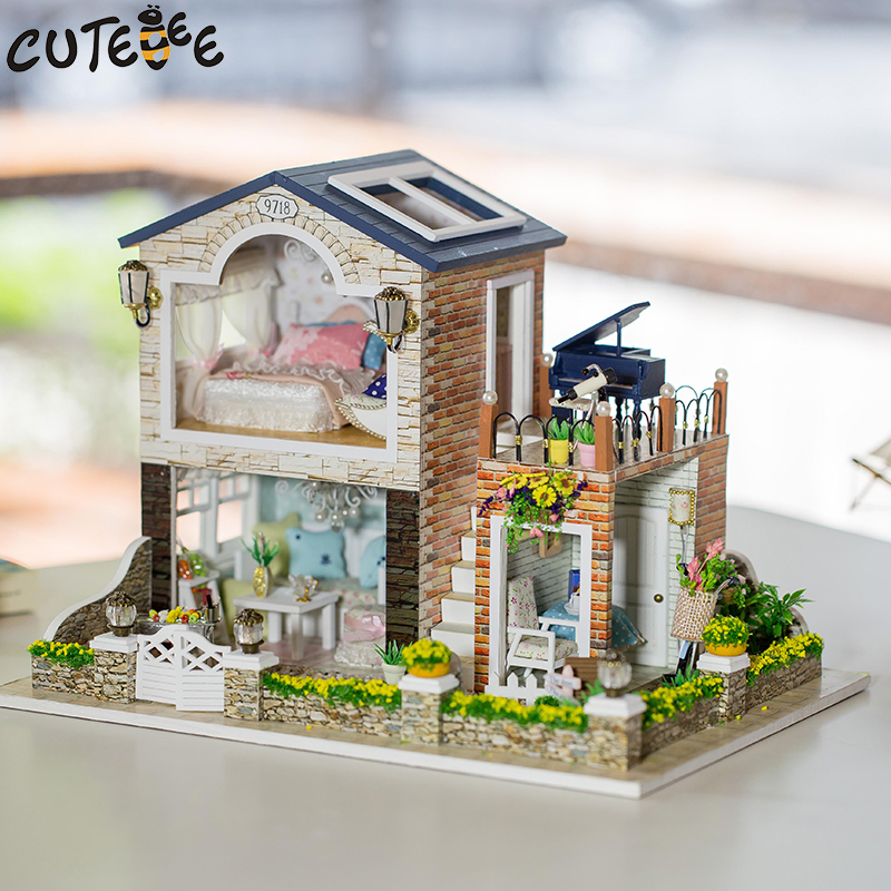 CUTEBEE Doll House Miniature DIY Dollhouse With Furnitures Wooden House Toys For Children Birthday Gift Romantic Country cutebee doll house miniature diy dollhouse with furnitures wooden house toys for children birthday gift home decor craft m017