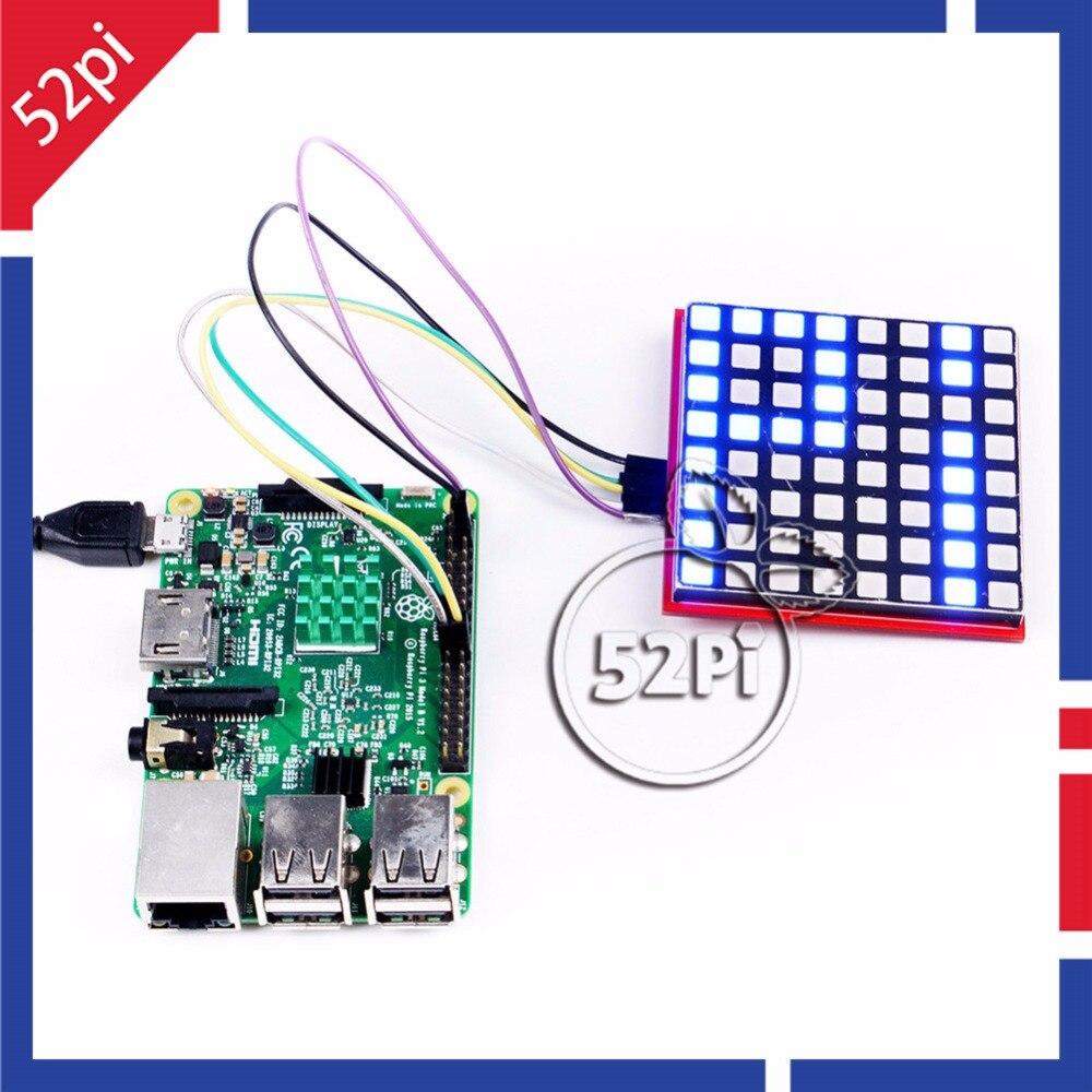 52Pi RGB LED Matrix Module with 74HC595 Chip Support SPI Protocol LED Display Expansion Board for Raspberry Pi 3 / Arduino/STM32 keyes diy 3 color rgb smd led module for arduino works with official arduino boards