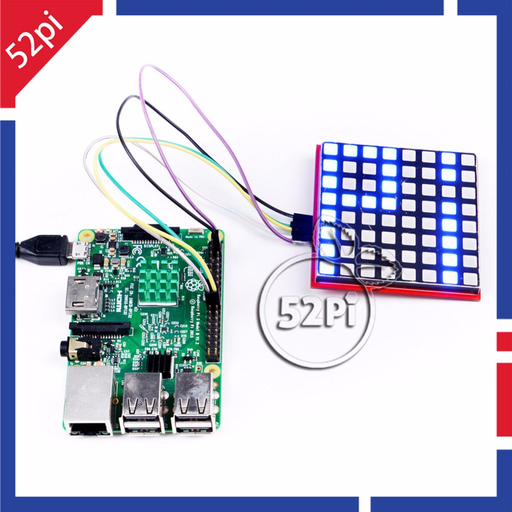 52Pi RGB LED Matrix Module with 74HC595 Chip Support SPI Protocol LED Display Expansion Board for Raspberry Pi 3 / Arduino/STM32