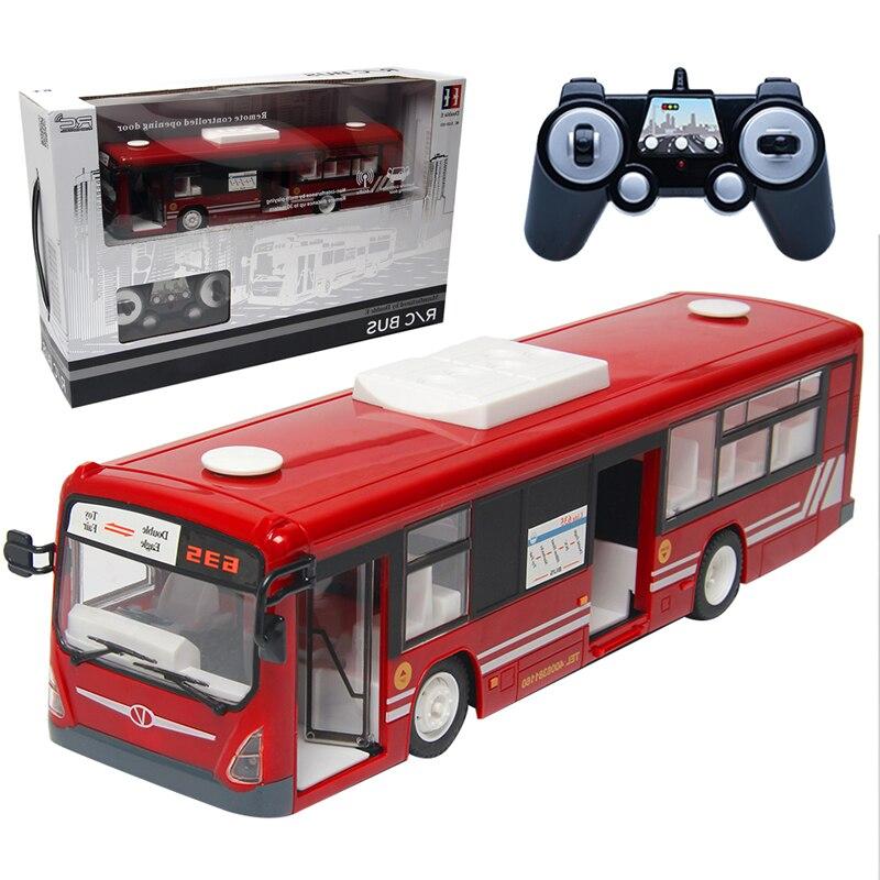 Simulation Télécommande Ville Bus 2.4g Radio RC Porte Automatique De Voiture Jouets pour Enfants Modèle De Bus Électrique Halloween Enfants cadeau d'anniversaire