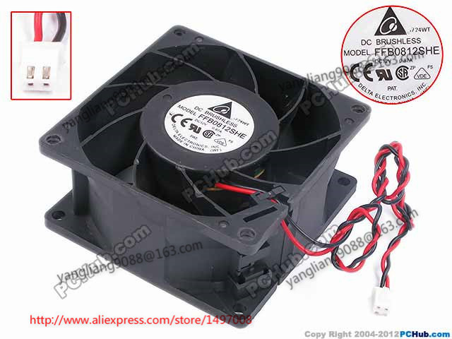 Free Shipping For Delta FFB0812SHE DC 12V 0.87A 2-wire 2-pin connector 80mm 80x80x38mm Server Square Cooling fan free shipping for delta pfb0848dhe ck2a dc 48v 1 00a 80x80x38mm 4 wire server square cooling fan