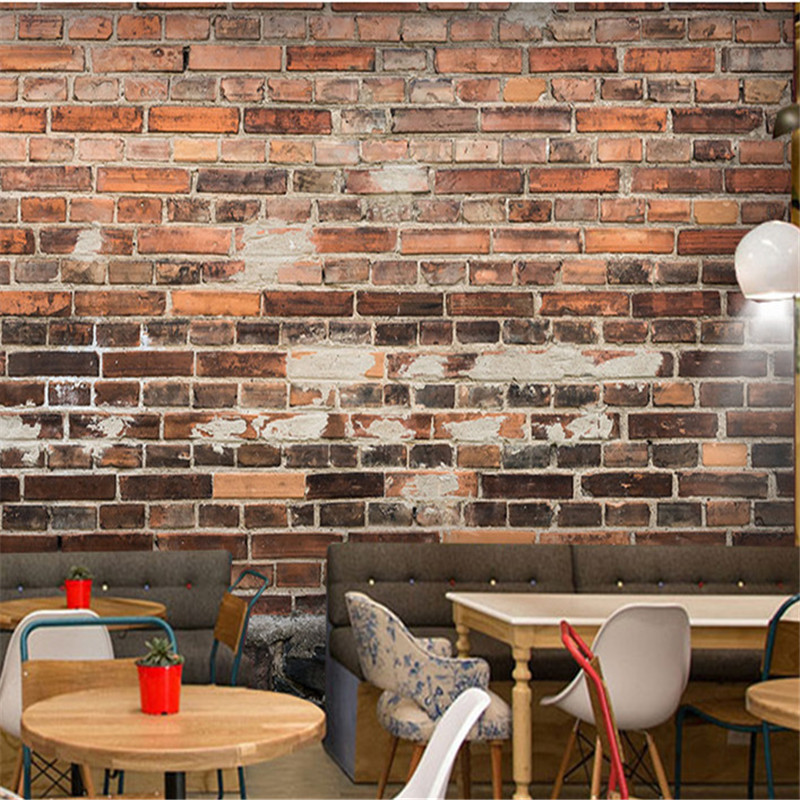 Rustic Vintage 3D Wallpapers Custom Photo Brick Stone Wall Murals for Living Room Restaurant Walls Papers Home Decor Murals Faux цена