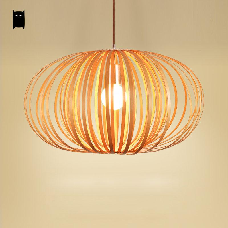 Well-liked Wood Pumpkin Shade Pendant Light Fixture Nordic Scandinavian Art  FL65