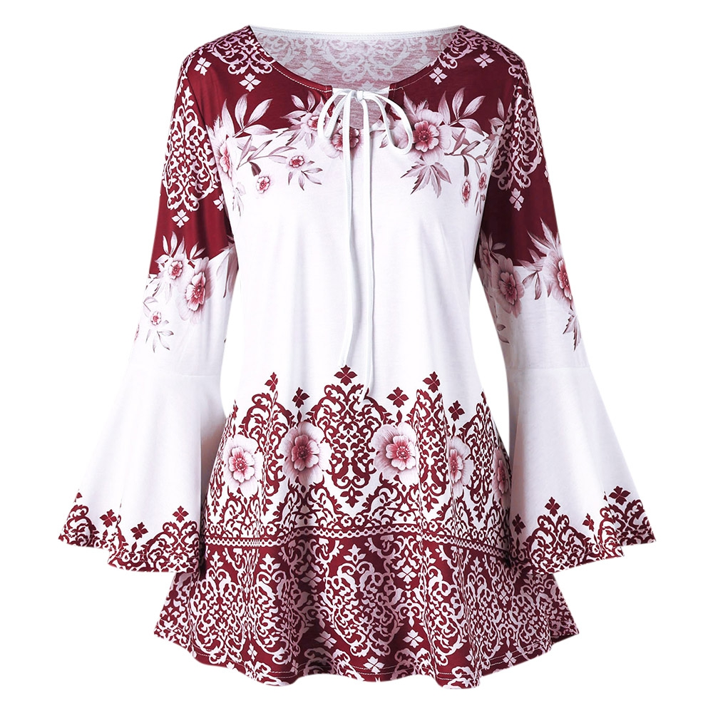 5XL Plus Size Print Keyhole T-shirt Women Casual Full T-shirt O-neck Female Floral Print Top with Flare Sleeve Women Spring Top