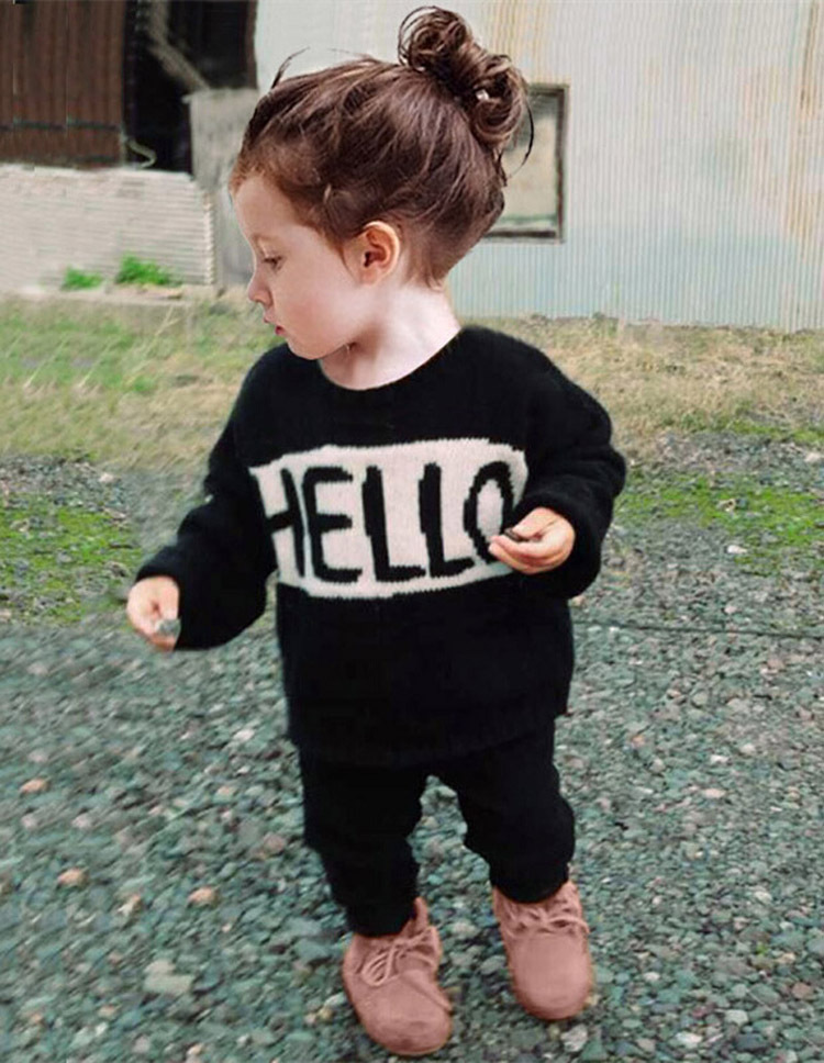 New 2016 Baby boy girl Clothes Set Children Set kids clothes Hello and Bye clothing tracksuit full sleeve t-shirt+pants 2pcs set