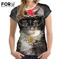 Forudesigns camisetas del verano de las mujeres tapas de la manera 3d kawaii cat mujer base camisetas casual camisetas para chicas adolescentes ropa femenina