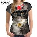 Forudesigns verão camisetas mulheres tops da moda kawaii 3d cat mulher base tees casuais para adolescentes meninas roupas femininas