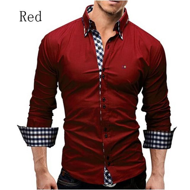 Camisas de Los nuevos Hombres Casual Slim Fit Camisa Masculina Formal de Negocios de Manga Larga Camisas A Cuadros Ropa Camisas Casuales Tamaño Asiático M-XXXL