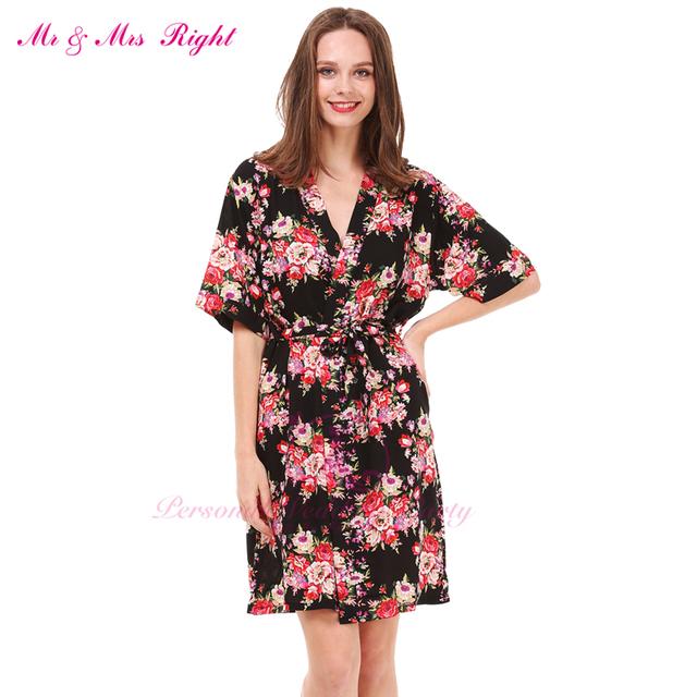 2016 Algodão Roupão de Banho de Algodão Mulheres Kimono Robes Para As Mulheres Floral Kimono Robe Vestes De Casamento Damas de Honra Noiva Robe Roupão