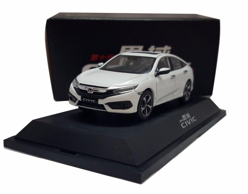 1:43 Diecast Model for Honda Civic 2016 MK10 White Alloy Toy Car Miniature Collection Gifts 1 18 diecast model for honda crider 2016 white sedan alloy toy car miniature collection gifts crv cr v