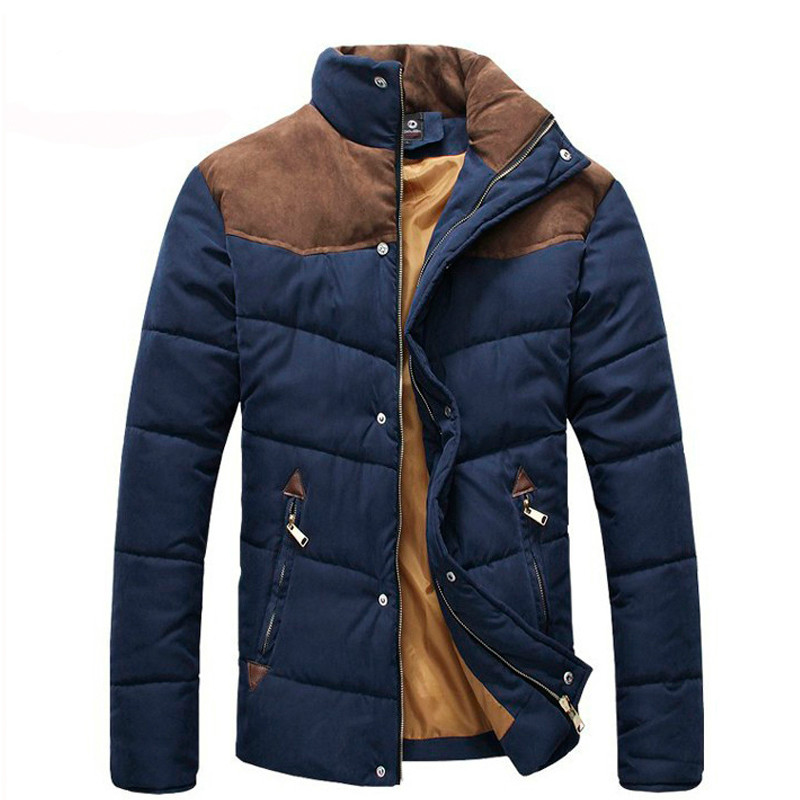 2016 Winter Man's Jacket Casual Soft Fit Warm Men Jacket Patchwork Fashion Men Coat Zipper Two Colors Size L-XXXL MWM169