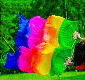 Image 3 - Yeni varış sıcak satış gökkuşağı oryantal dans ipek yelpaze Veils el boyası canlı işık Fan peçe çift degrade 120cm 180cm profesyonel