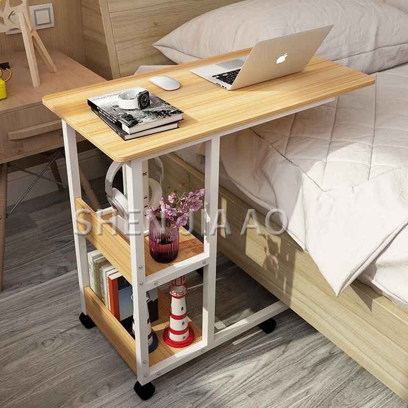 Multi function Bedroom Simple Lazy Table Mobile Bed Desk Mobile Computer Desk Economical Bedside Table Side Table 1PC