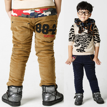 Child trousers 2017 winter boys child corduroy pants thickening double layer camouflage patchwork boy warm pants