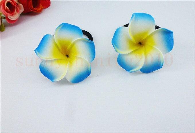 20 диаметр цветка украшение для волос ленты пены Гавайская Плюмерия эластичный с цветочным принтом Гавайский жасмин повязка на голову волос веревки - Цвет: blue